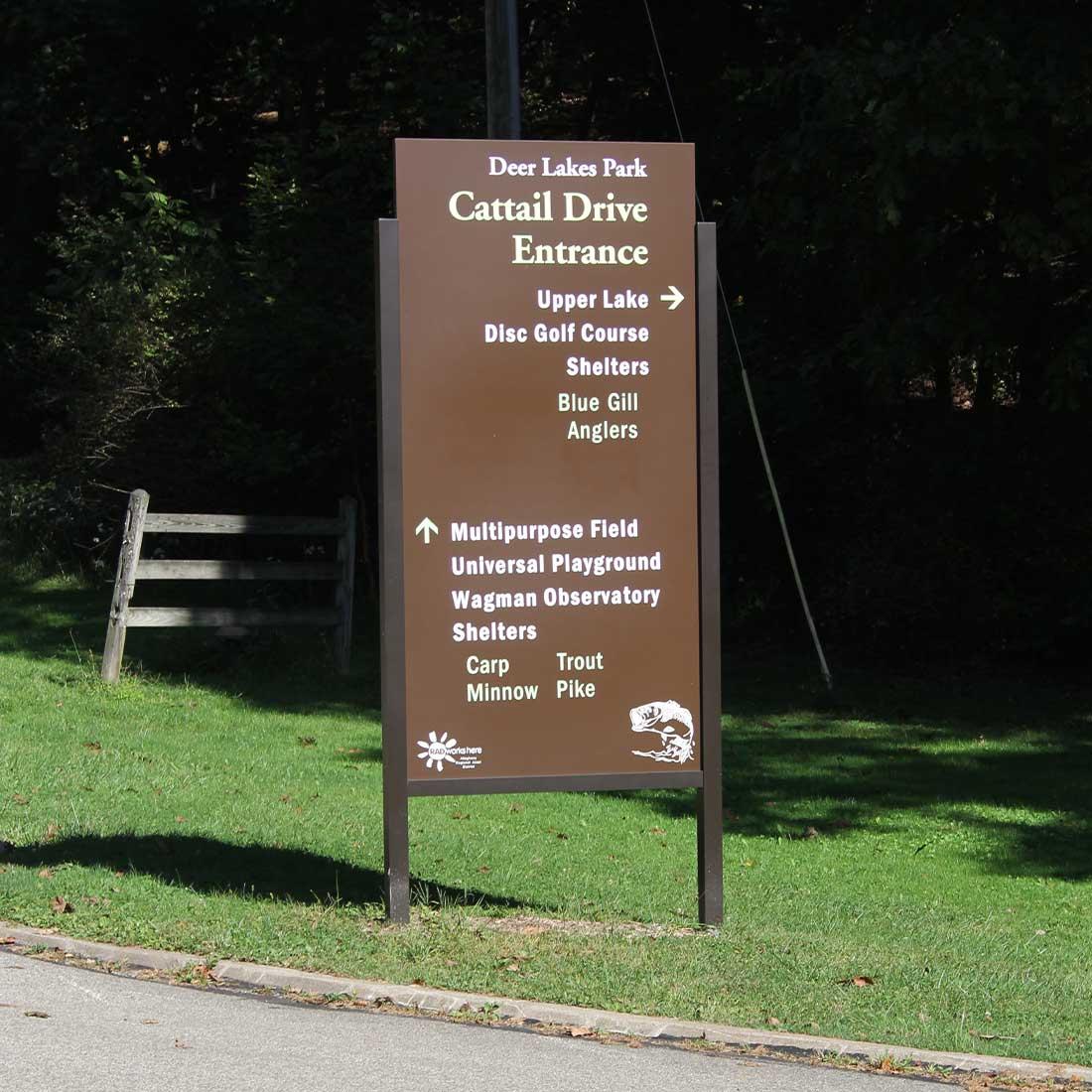 Deer Lakes Park sign