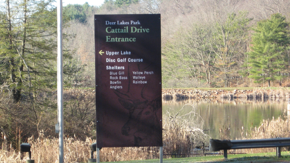 Deer Lakes Park Cattail Drive Entrance Sign