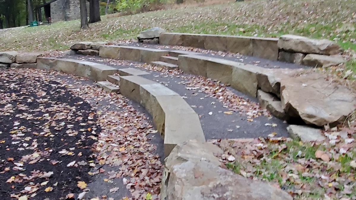 Outdoor Classroom stone stairs at the Cascades