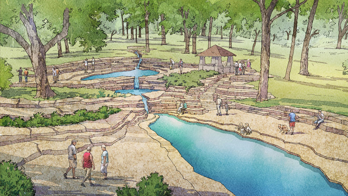 Artist rendering of proposed South Park Cascades.