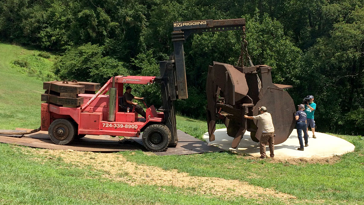 Sculpture being placed in Hartwood Acres Park. Pittsburgh PA